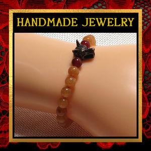 Wolf & Red Aventurine Stone Bracelet #575